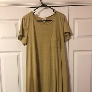 LuLaRoe Large Heathered Mustard/Gold Carly NWOT